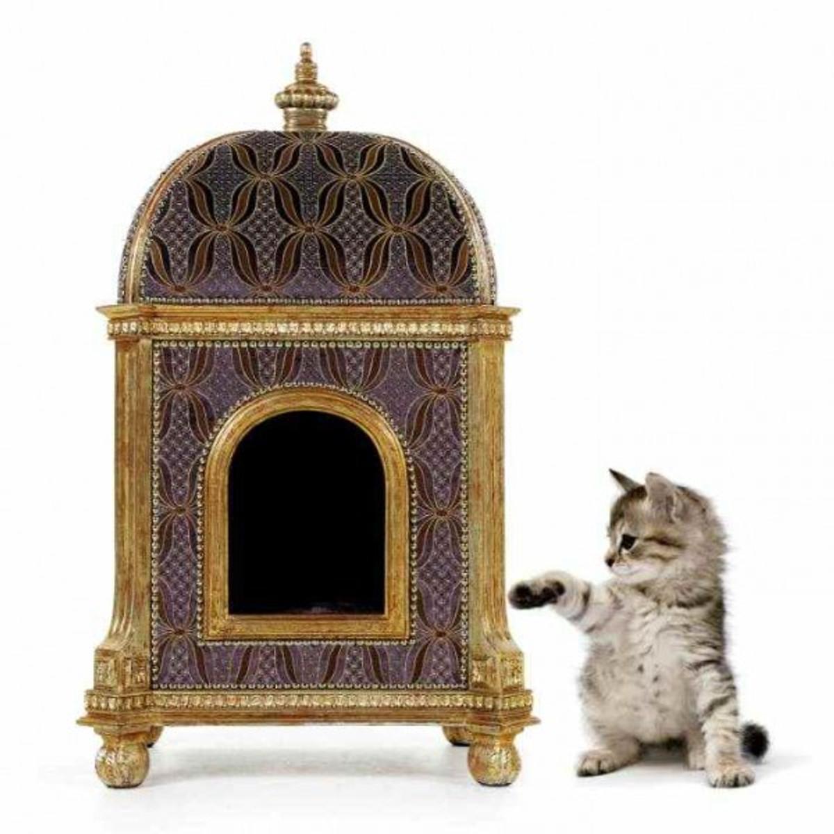 Casa Padrino Baroque Luxury Cat House Golden Temple   House Seat Cat  Furniture Pet Furniture. Loading Zoom