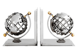 Casa Padrino luxury globe bookends nickel finish aluminum - Bookend - Book End - Luxury Collection - Art Deco