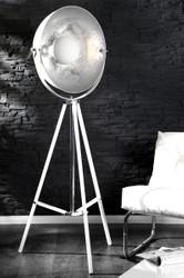 Designer Studioleuchte Stativ-Lampe, Stehleuchte in Weiss/Silber Höhe: 160 cm - Tripod floor lamp