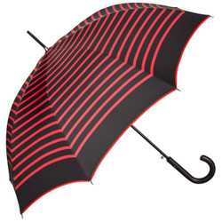 Jean Paul Gaultier luxury designer ladies umbrella in black in the nautical look with red stripes - Luxury Edition