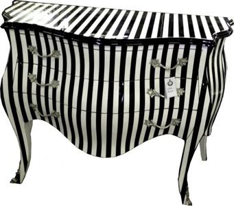 Kommode schwarz weiß  Casa Padrino Barock Kommode Schwarz/Weiß Streifen 120cm Kommoden ...