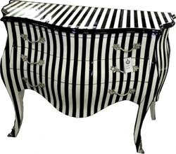 Casa Padrino Barockkommode Black / White Stripe 120cm