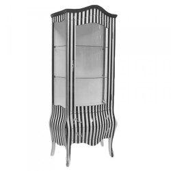 Casa Padrino baroque display case in black / white stripe - Display cabinet - cupboard