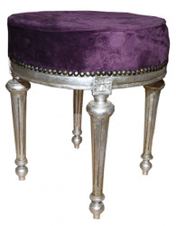 Casa Padrino Baroque Foot Stool / Round Stool Purple / Silver