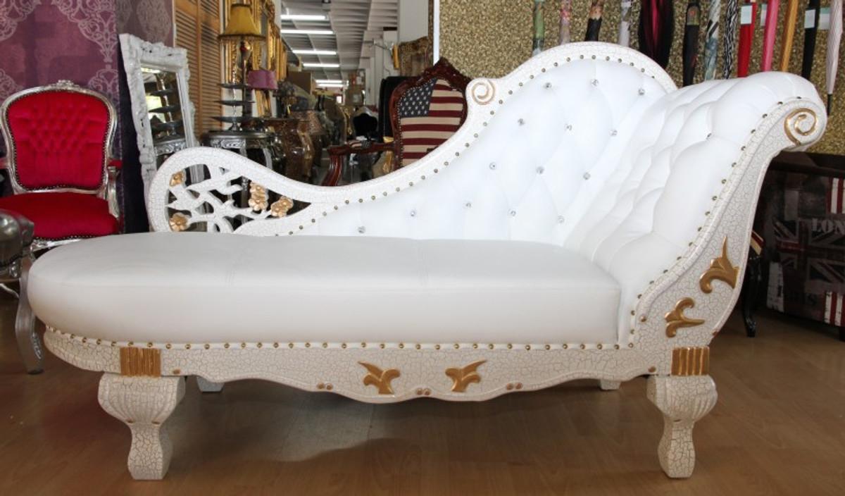 barock chaiselongue weiß / gold / echt leder chaise lonque ... - Wohnzimmer Weis Gold