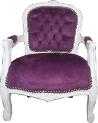 Casa Padrino Baroque Salon Chair Purple / White - Children's Furniture