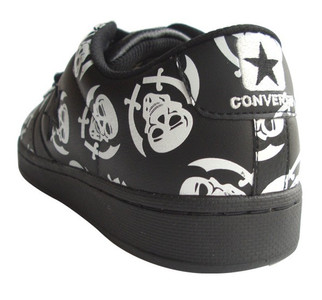 Converse Skate Shoes Pro Leather Ox VR Black / White Skulls Sneaker Sneakers Shoes – Bild 3