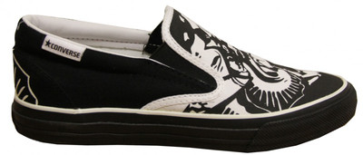 Converse Skateboard Schuhe Skidgrip Ev Skulls White/ Black Slip On Shoes – Bild 1