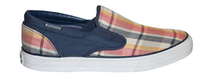 Converse Skateboard Schuhe Skidgrip Ev Plaid Blue Slip on Shoes – Bild 1