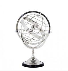 Casa Padrino luxury globe Nickel Finish Silver Height: 52 cm - Luxury Collection - Art Deco