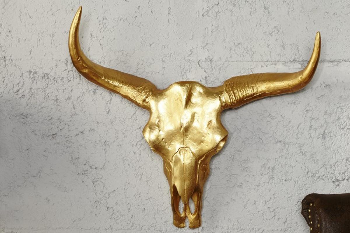 Designer Schädel Matador gold Longhorn Skull H 53 cm, B 63 cm, T 53 ...