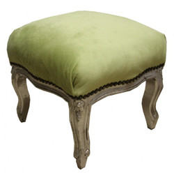 Casa Padrino baroque ottoman Hunter Green / Silver - stool antique furniture