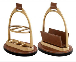 Casa Padrino Luxury Desk Set: Letter Rack and Kuliständer from brown genuine leather Pen stand - Card Stands
