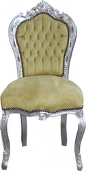 Casa Padrino Baroque Dinner Chair Hunter Jade Green  / silver antique look - furniture baroque antique style