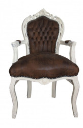 Casa Padrino Baroque Dinner Chair with armrests Brown / Brown Leather Look Antik Look