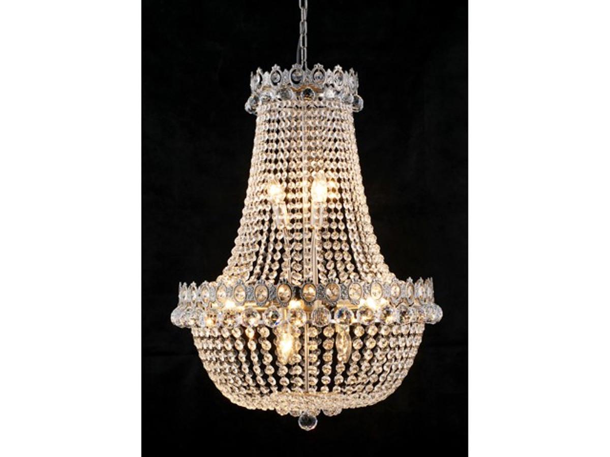 Wunderbar Barock Kronleuchter Vernickelt Mit Glaskristallen Länge 80 Cm Durchmesser  60 Cm Antik Stil   Möbel Lüster Leuchter Hängeleuchte Hängelampe