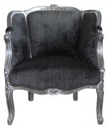 Casa Padrino Baroque Armchair Grey / Silver