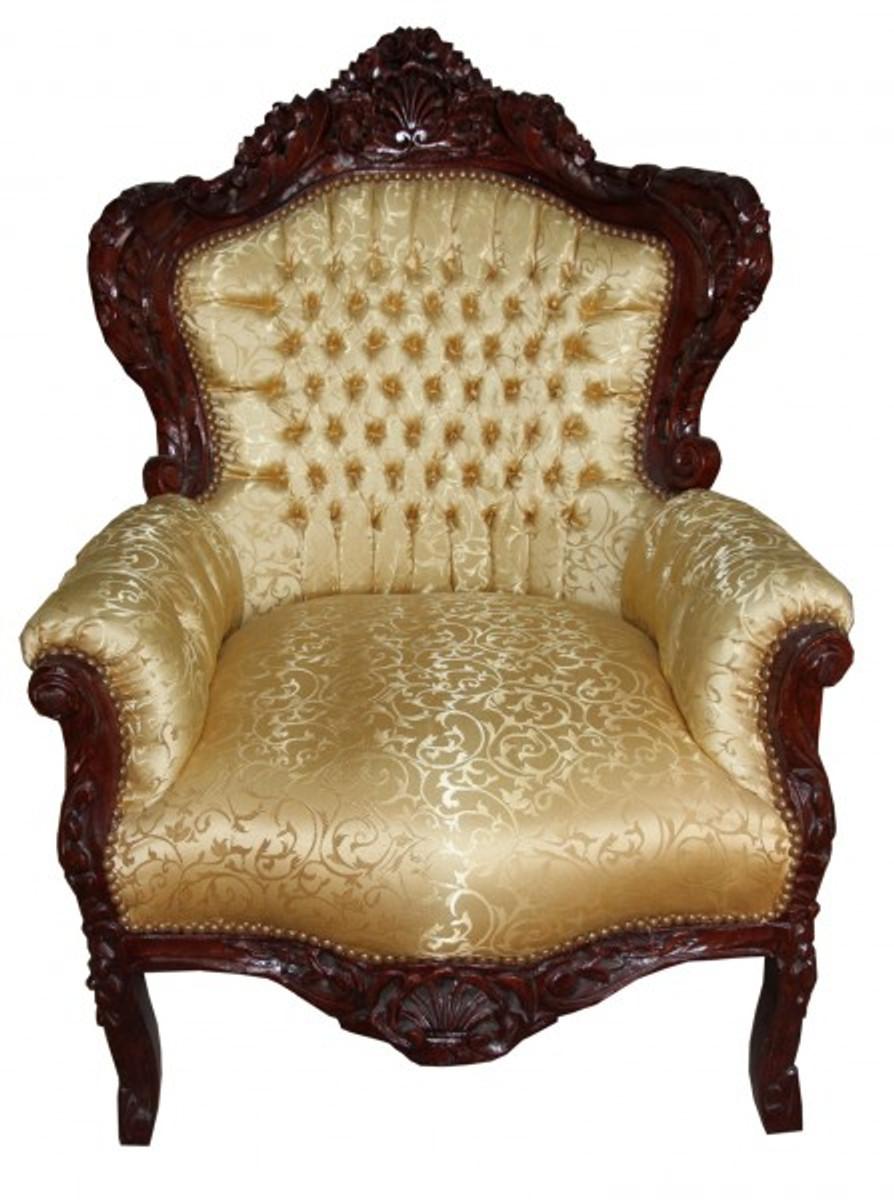 casa padrino barock sessel king gold muster brown m bel antik stil sessel barock sessel king. Black Bedroom Furniture Sets. Home Design Ideas