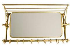 Französische Luxus Wandgarderobe mit Spiegel Messingfarben Edelstahl Garderoben Halter Mod Strasbourg - Garderobe Antik Stil Barock Jugendstil  Hotel, Cafe Restuarant Möbel