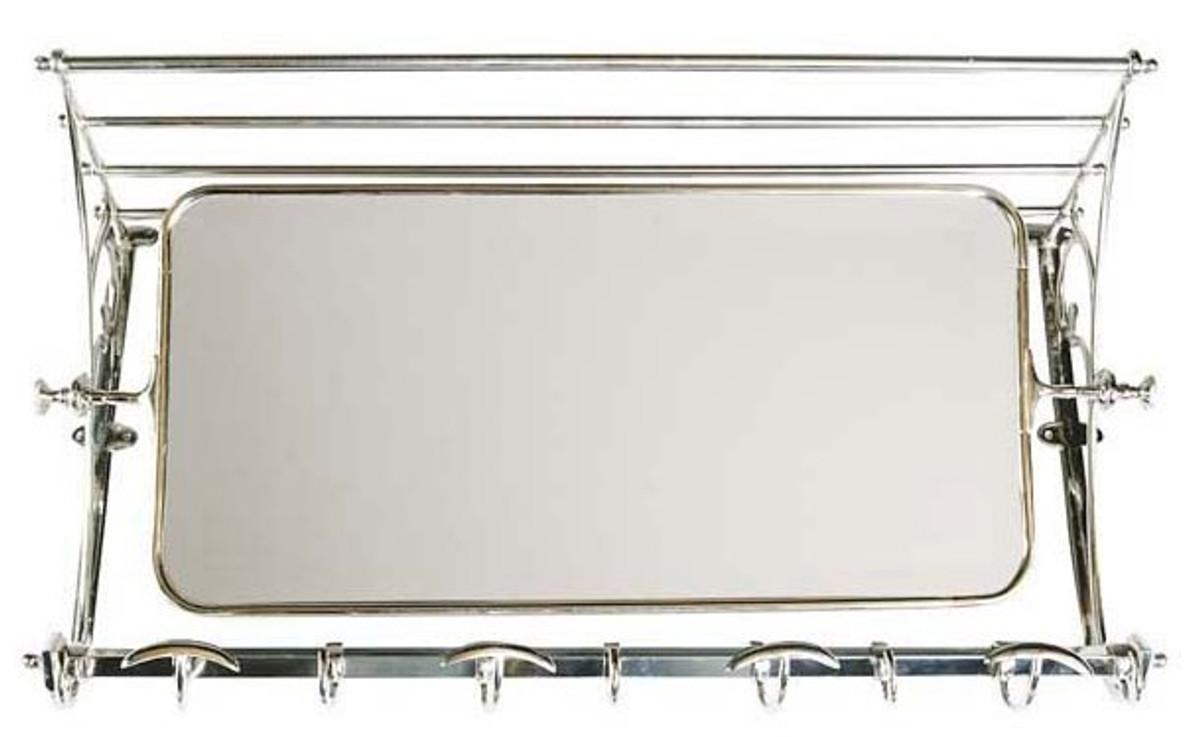 Französische Luxus Wandgarderobe mit Spiegel Silberfarben Edelstahl ...