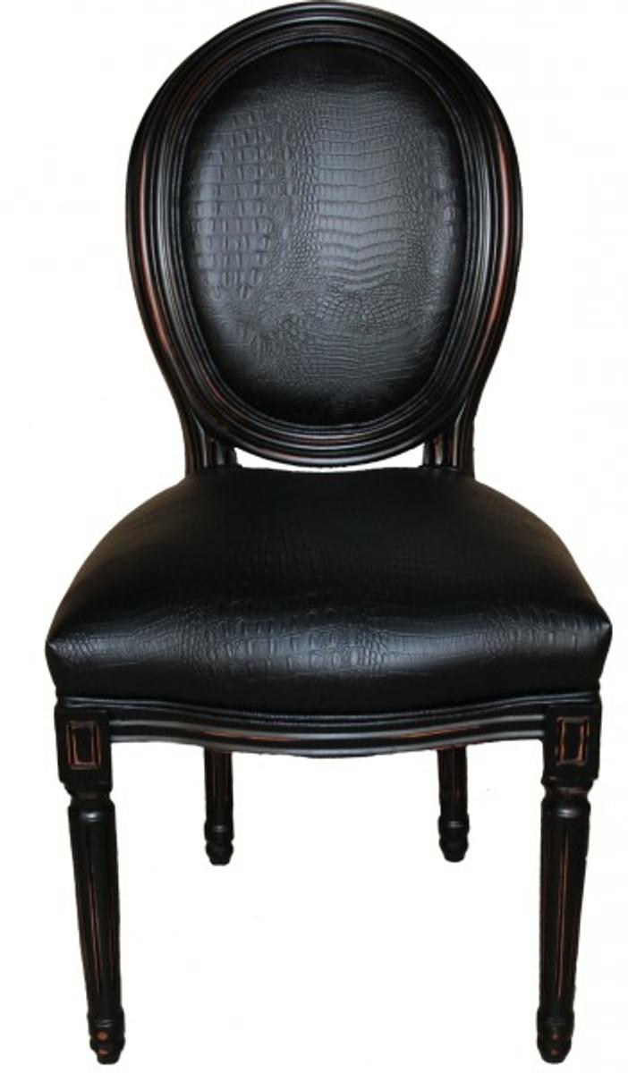 casa padrino barock esszimmer stuhl schwarz croco lederoptik designer stuhl luxus qualit t. Black Bedroom Furniture Sets. Home Design Ideas