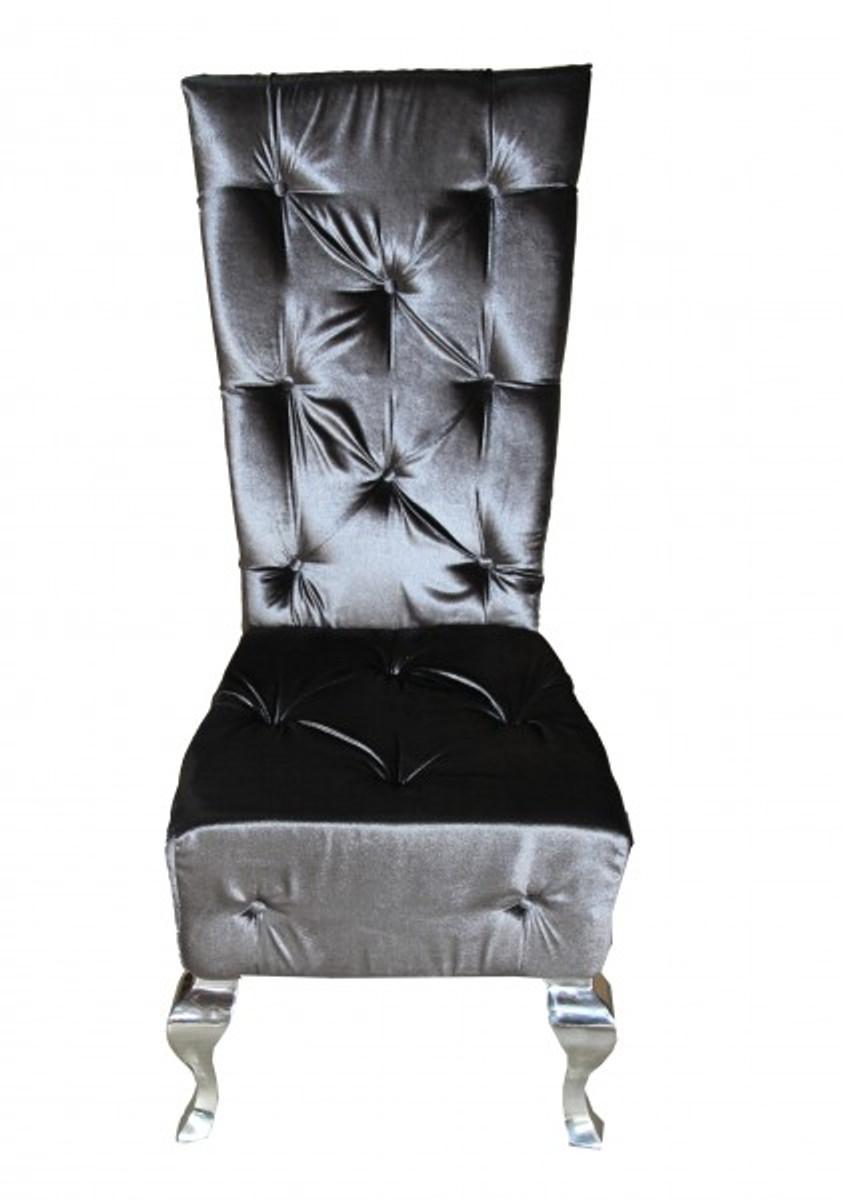Casa Padrino Barock Esszimmer Stuhl Grau / Silber   Designer Stuhl   Luxus  Qualität   Hochlehner Hochlehnstuhl