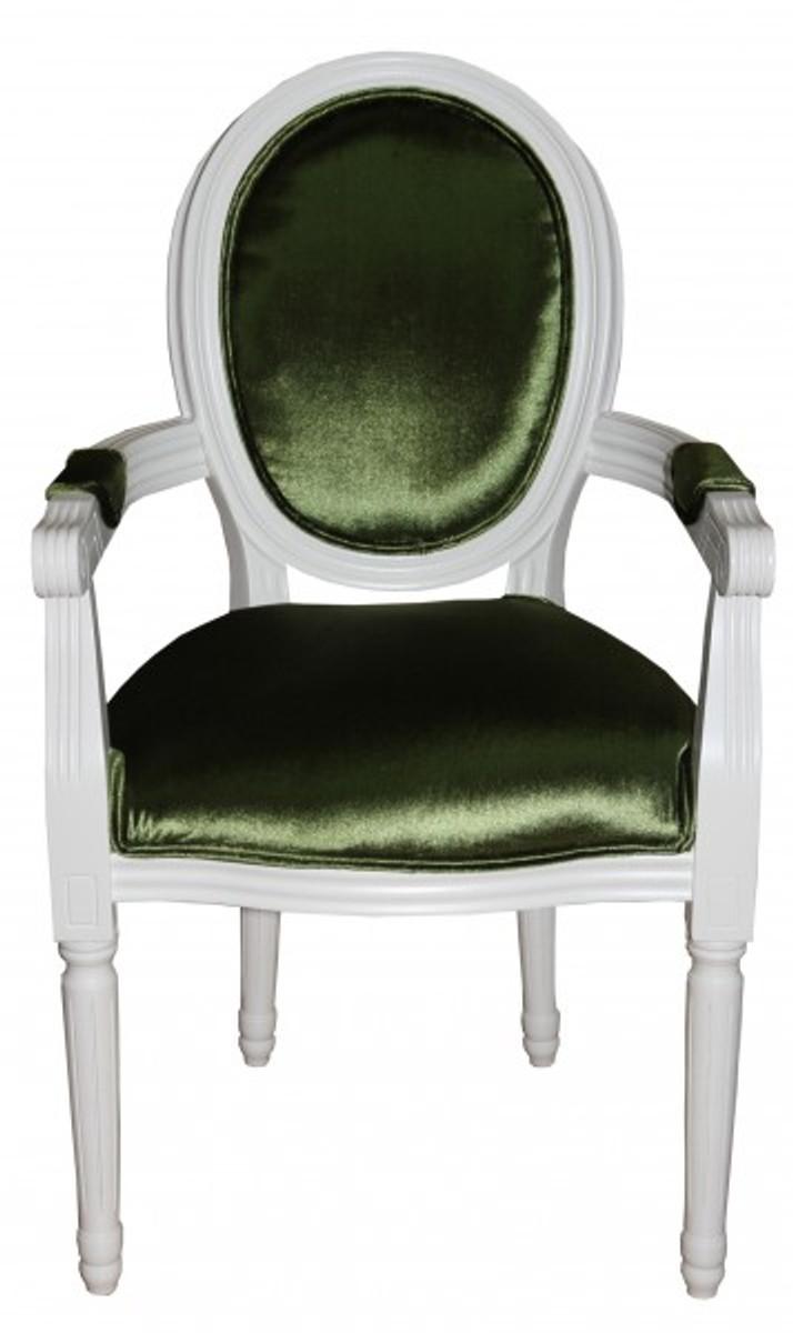 casa padrino barock esszimmer stuhl mit armlehne gr n wei designer stuhl luxus qualit t. Black Bedroom Furniture Sets. Home Design Ideas