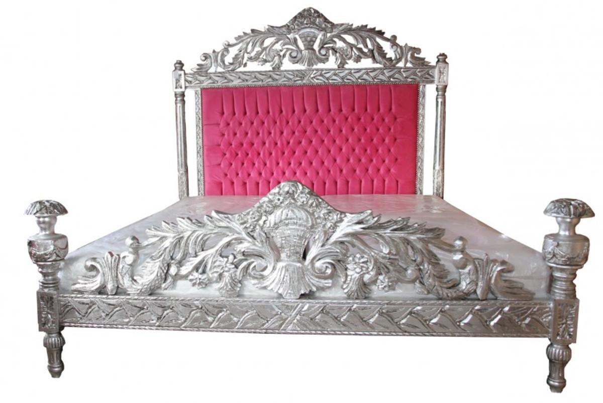 Casa Padrino Luxus Barock Bett Antik Rosa / Silber  - Luxus Bett - Antik Look 1