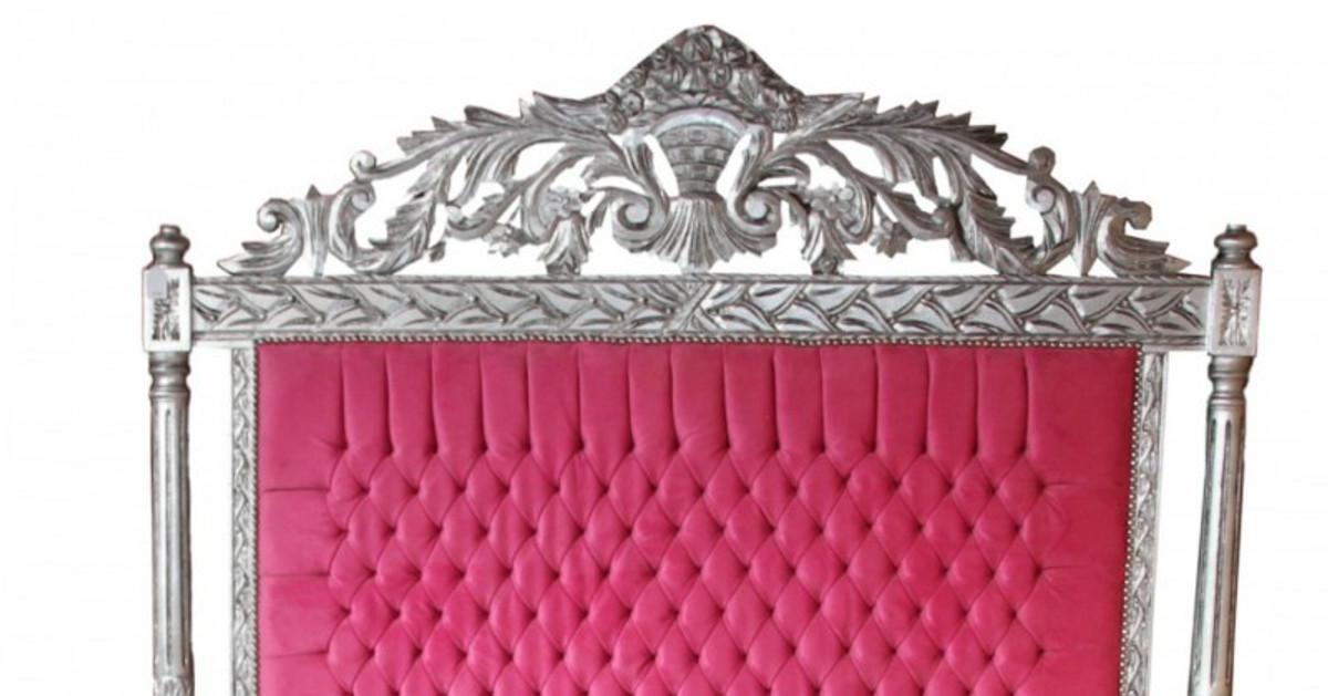 Casa Padrino Luxus Barock Bett Antik Rosa / Silber  - Luxus Bett - Antik Look 2