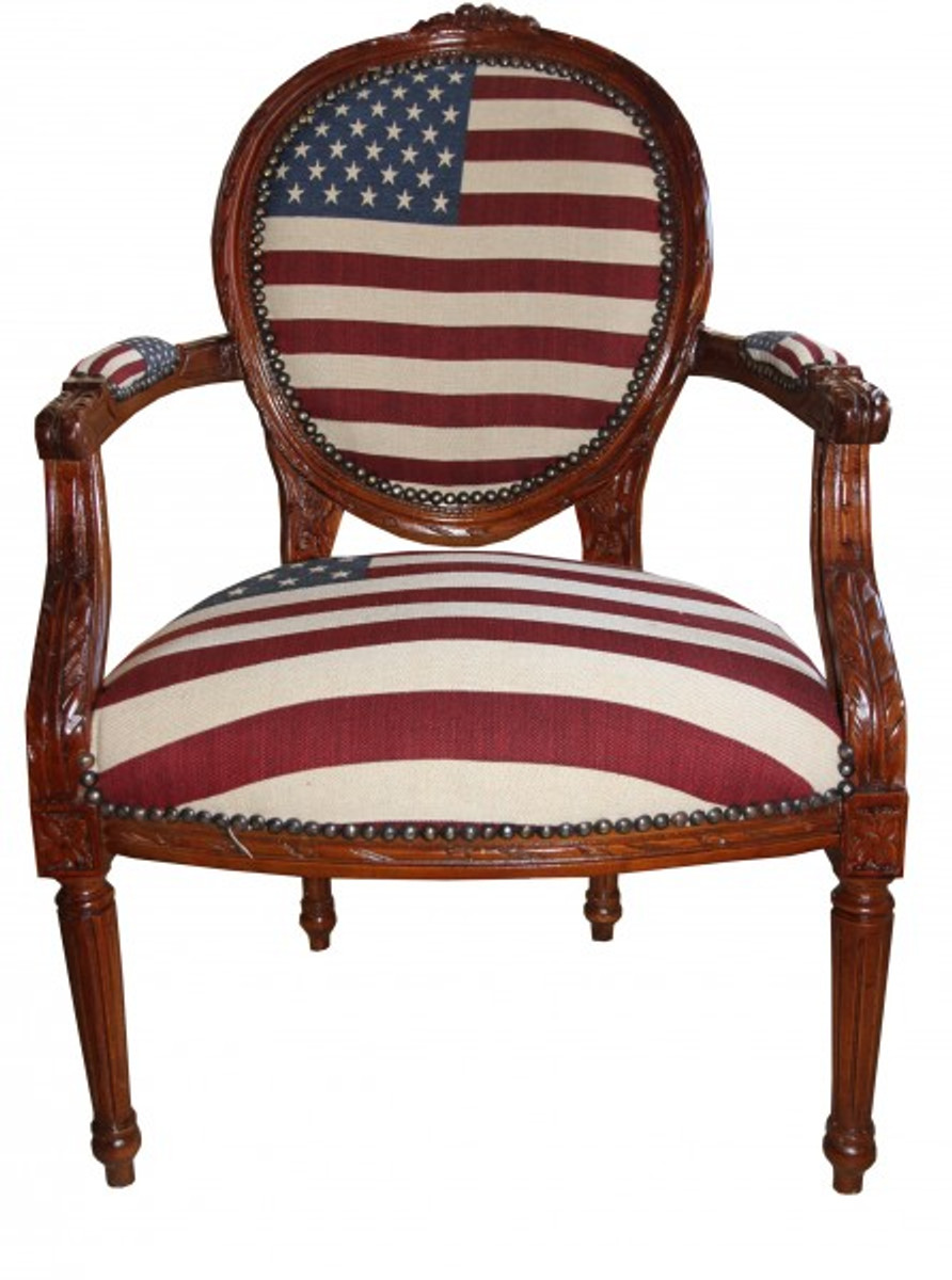 Barock Salon Stuhl USA Design / Mahagoni Braun - USA Stil 1