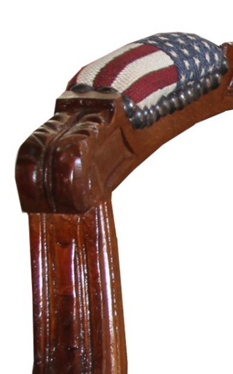 Barock Salon Stuhl USA Design / Mahagoni Braun - USA Stil 3