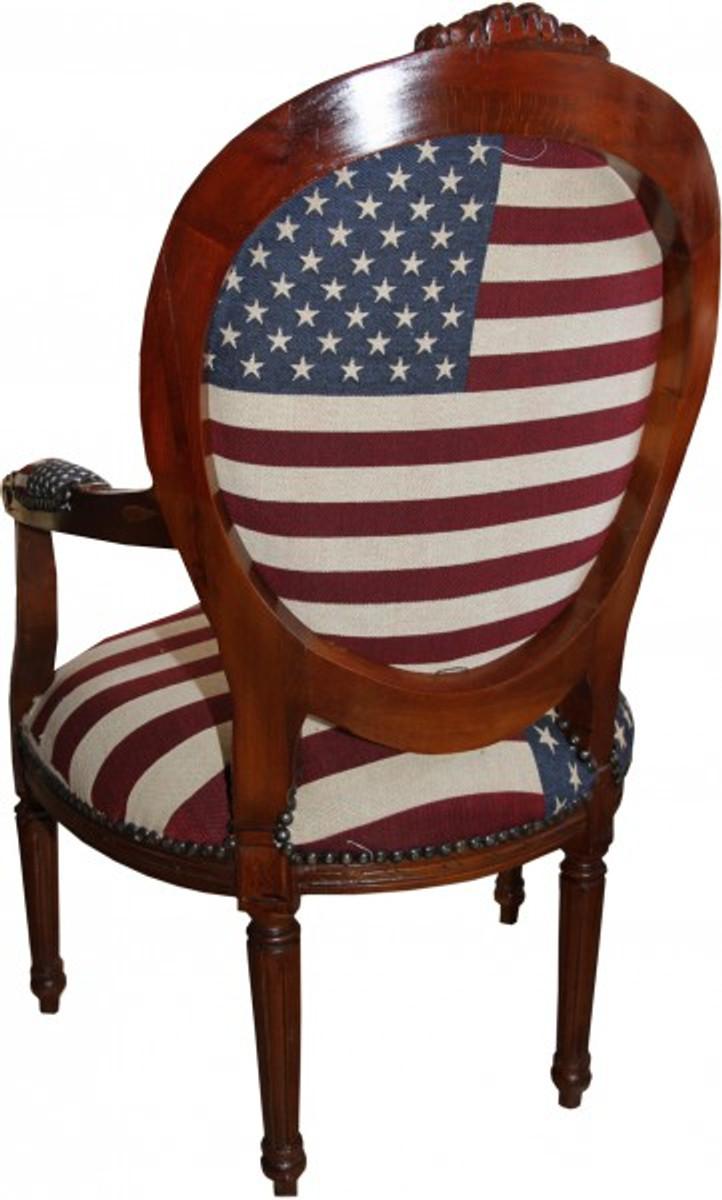 Barock Salon Stuhl USA Design / Mahagoni Braun - USA Stil 2