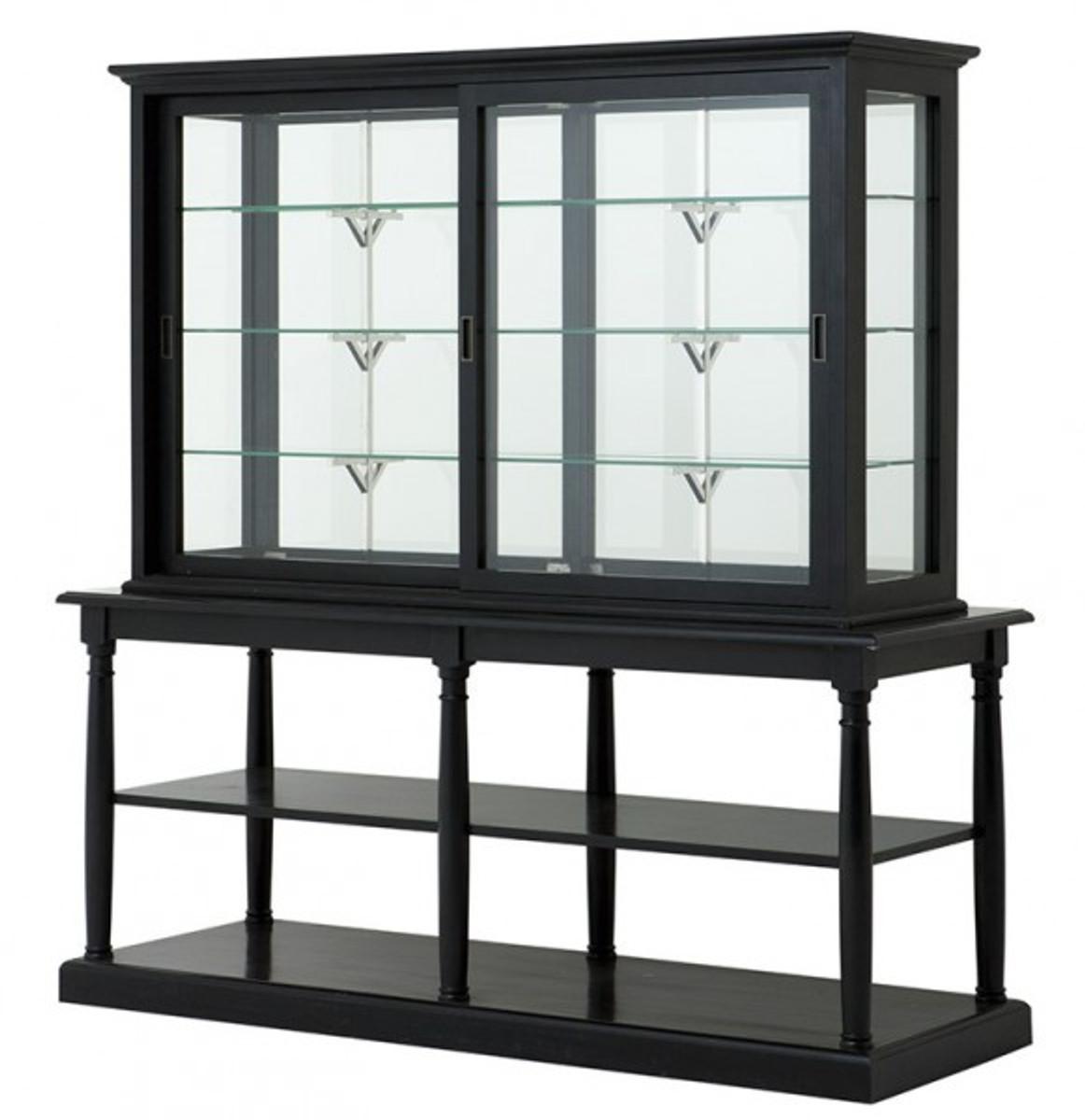 Casa Padrino Luxus Glas Vitrinen Schrank Schwarz Massivholz London Wohnzimmer Barock Jugendstil Rokoko Vitrine Ladeneinrichtung
