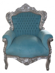 "Baroque Armchair ""King"" Blue / silver antique style furniture"