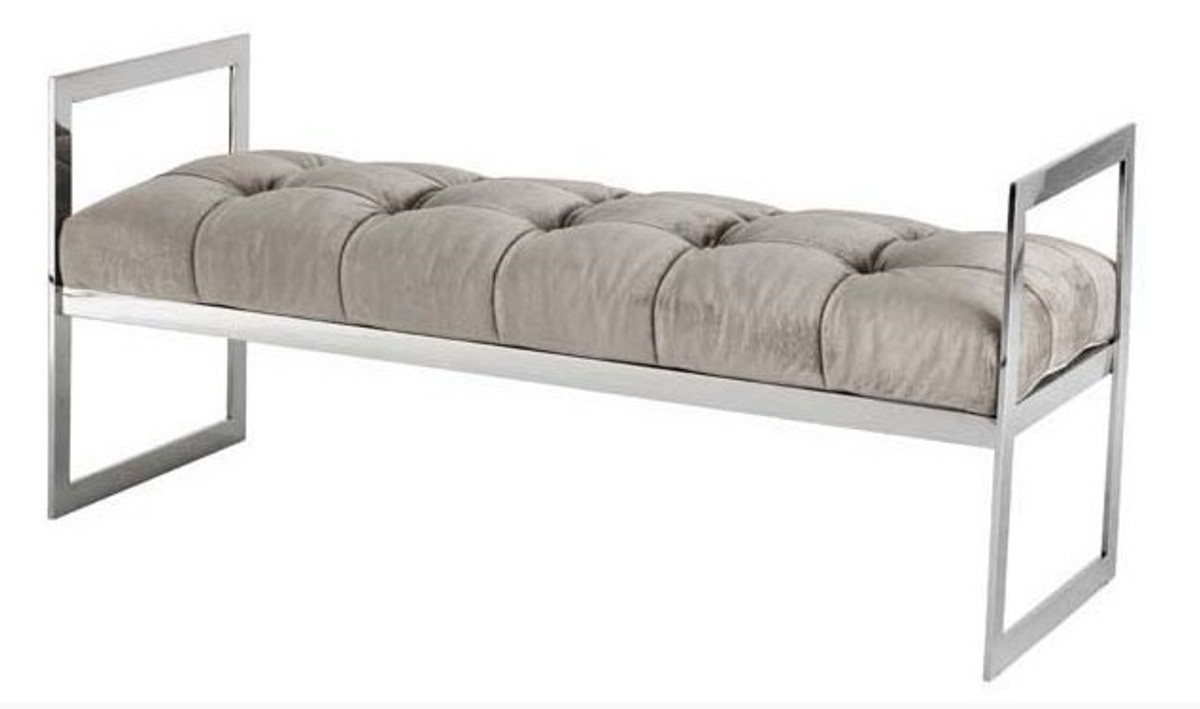 Casa Padrino Luxus Sitzhocker Chesterfield Grau / Chrom Hocker ...