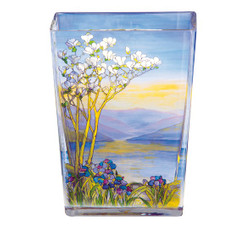 Handmade vase from Tiffany glass with beautiful motif, height 20 cm - finest quality from the china factory Tettau