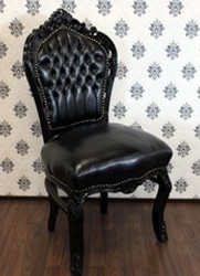 Casa Padrino Baroque dining room chair black / black leather look - furniture antique style
