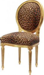Dining room chair Leopard / Gold Round