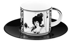 Handmade Coffee cup made of porcelain with a motif of Audrey Beardsley Portrait 0.21 Ltr - finest quality from the Tettau porcelain factory - beautiful cup