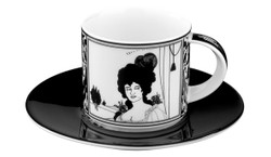 Handmade mocha porcelain cup with a motif of Audrey Beardsley Portrait 0.09 Ltr - finest quality from the Tettau porcelain factory - beautiful espresso cup