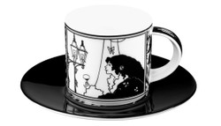 "Handmade mocha porcelain cup with a motif of Audrey Beardsley ""Lady in the mirror"" 0.09 Ltr - finest quality from the Tettau porcelain factory - beautiful espresso cup"