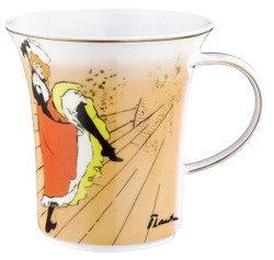 "Handmade mug with handle made ​​of porcelain with a motif of T. Lautrec ""Jane Avril"" 0.25 Ltr - finest quality from the china factory Tettau"