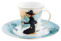 "Handmade Coffee cup made of porcelain with a motif of T. Lautrec ""Divan Japonais"" 0.21 Ltr - finest quality from the Tettau porcelain factory - beautiful cup"