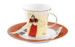 """Handgearbeitete Moccatasse aus Porzellan mit einem Motiv von T. Lautrec """"May Belfort"""" 0,09 Ltr. - feinste Qualität aus der Tettau Porzellanfabrik - wunderschöne Espressotasse"""