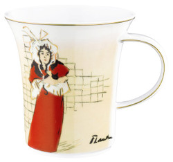 "Handmade mug with handle made ​​of porcelain with a motif of T. Lautrec T. Lautrec ""May Belfort"" 0.25 Ltr - finest quality from the china factory Tettau"