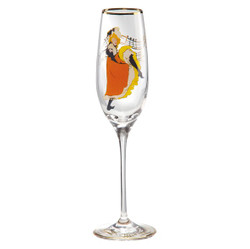 "Champagne glass with a motif of T. Lautrec ""Jane Avril"", 0.19 Ltr - finest quality from the Tettau porcelain factory - beautiful champagne glass"