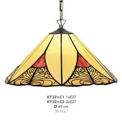 Handmade Tiffany Hanging Lamp by Casa Padrino, diameter 40 cm, 2-burner - light bulb - beautiful Tiffany Ceiling Light