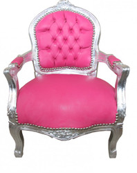 Casa Padrino Baroque Salon Chair Pink leather look / Silver - Children's Furniture