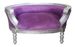 Baroque Cats & Sofa Purple / Silver Dog Bed & Cat Bed