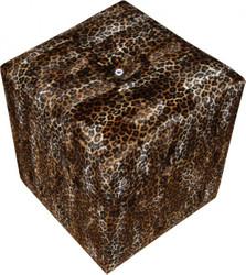 Casa Padrino Designer Sitzhocker Würfel Leopard Muster mit Strasstein - Cube Hocker